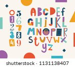 positive colorful alphabet for... | Shutterstock .eps vector #1131138407