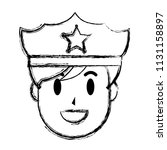 grunge happy policeman head... | Shutterstock .eps vector #1131158897