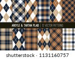brown  tan and navy blue argyle ... | Shutterstock .eps vector #1131160757
