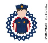 policeman with usa patriotic... | Shutterstock .eps vector #1131178367