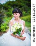 portrait of delightful bride in ... | Shutterstock . vector #1131210197