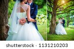 groom embraces bride's waist ... | Shutterstock . vector #1131210203