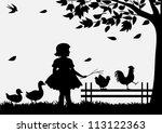 girl with birds | Shutterstock .eps vector #113122363
