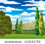 Summer green landscape with cypress, meadow and mountains on a blue cloudy sky - stock vector