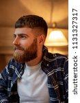 portrait handsome bearded man... | Shutterstock . vector #1131327317
