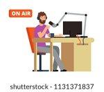 broadcast in radio studio....   Shutterstock .eps vector #1131371837