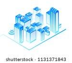 smart city. 3d urban map with... | Shutterstock .eps vector #1131371843