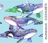 seamless pattern with whales.... | Shutterstock .eps vector #1131413873
