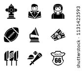 set of 9 simple editable icons... | Shutterstock .eps vector #1131423593