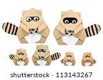 raccoon origami recycle paper | Shutterstock . vector #113143267