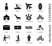 set of 16 icons such as cycling ...
