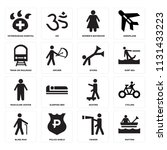 set of 16 icons such as rafting ...