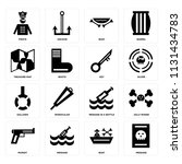 set of 16 icons such as message ...   Shutterstock .eps vector #1131434783
