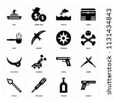 set of 16 icons such as musket  ...