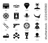 set of 16 icons such as octopus ...
