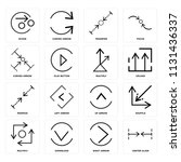 set of 16 icons such as center...
