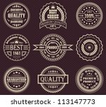vector set of retro labels | Shutterstock .eps vector #113147773