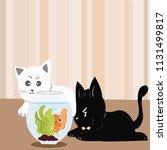 cute cartoon little kitty cat... | Shutterstock .eps vector #1131499817