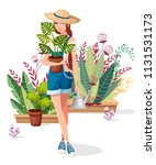 beautiful women hold flower pot ... | Shutterstock .eps vector #1131531173