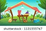 camping tent at grass field...   Shutterstock .eps vector #1131555767