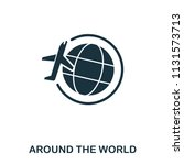 around the world icon. line...
