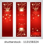 Vertical christmas web banners. - stock vector