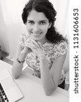 black and white portrait of...   Shutterstock . vector #1131606653