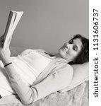 black and white portrait of...   Shutterstock . vector #1131606737