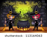 Funny witches with pot. Cartoon and vector illustration.  Proportions in A3 - A4 - 50x70 - stock vector
