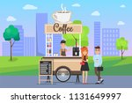 hot coffee street cart with... | Shutterstock .eps vector #1131649997