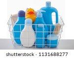 basket of baby cosmetics on... | Shutterstock . vector #1131688277