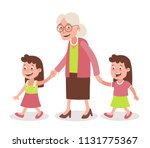 grandmother with her... | Shutterstock .eps vector #1131775367