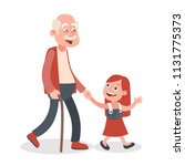 grandfather and granddaughter... | Shutterstock .eps vector #1131775373
