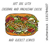hot dog with cheddar and... | Shutterstock .eps vector #1131784637