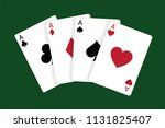 four aces  casino poker cards   Shutterstock .eps vector #1131825407