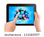 Hand Holding Touch Pad Pc And...