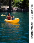 Children in Kayak - stock photo