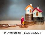miniature people  old woman... | Shutterstock . vector #1131882227