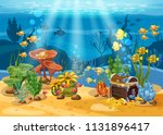 Underwater Treasure  Chest At...