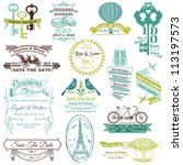 Wedding Vintage Invitation Collection - for design, scrapbook - in vector | Shutterstock vector #113197573