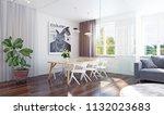 modern dining room interior 3d... | Shutterstock . vector #1132023683