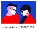 couple in love  two lovers  man ...   Shutterstock .eps vector #1132031573