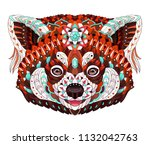 patterned red panda. tattoo... | Shutterstock .eps vector #1132042763