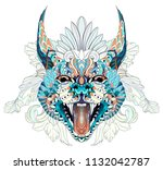 patterned caracal lynx on the... | Shutterstock .eps vector #1132042787