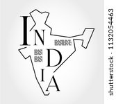 india outline typographic map ... | Shutterstock .eps vector #1132054463