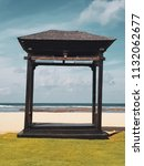 wooden gazebo on the sandu... | Shutterstock . vector #1132062677