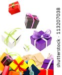 Holiday gifts isolate white background - stock photo