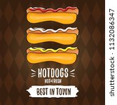 vector cartoon hot dogs label... | Shutterstock .eps vector #1132086347