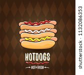 vector cartoon hot dogs label... | Shutterstock .eps vector #1132086353
