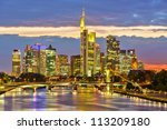 Frankfurt at night, Germany - stock photo